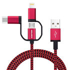Kootion 1M Quick Charger 3 in 1 USB Cable Powerline for iPhone Android
