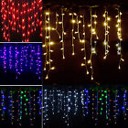 96-1500 LED Fairy String Hanging Icicle Snowing Curtain Light Outdoor Christmas