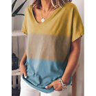 Womens Cotton Summer Loose fit T Shirt V Neck Casual Plus Size Soft Tops Blouse