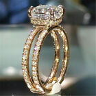 Exquisite Woman 18K Yellow Gold Filled White Topaz Ring Wedding Jewelry Sz 5-11 image