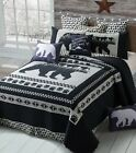 MOON BEAR Paw Black Gray Southwestern CABIN LODGE Mountain Pine Tree QUILT SET