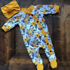 US Autumn Infant Baby Girl Clothes Floral Romper Jumpsuit Bodysuit Outfits 0-18M