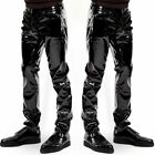 Mens Motorcycle Ridding Exotic Pants PU Latex Catsuit Zipper PVC Stage Clubwear