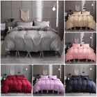 3 Pieces Bow Tie Duvet Cover Comforter Bowknot Strap Bedding Set w/ Pillowcase image