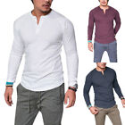 Mens Plain Muscle Tee Long Sleeve V Neck T Shirt Casual Top Blouse Henley Shirts