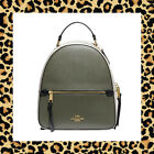COACH Colorblock Leather Jordyn Backpack Purse F76623 BLACK CHALK MILITARY GREEN