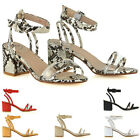 Womens Ankle Strap Sandals Mid Heel Ladies Perspex Peep Toe Party Shoes Size 3-8