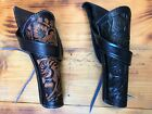 Western Cross Draw Leather Holster Brown Black Hand Made Cowboy Revolver Pistol