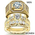 Couple Rings Yellow Gold Filled CZ Women's Wedding Ring Sets Mens Ring image