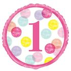 First Birthday, 1st Party Baby Girl Dots Tableware Partyware Decoration Balloons