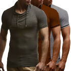Mens Short Sleeve Slim Fit Hoodies T Shirts Casual Sport Muscle Top Shirt Blouse
