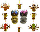 3 PACK Lotus Candle Happy Birthday Flower Sport Trophy Musical Cake Candles