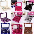 Kyпить Jewelry Ring Earring Storage Case Display Organizer Box Velvet Glass Tray Holder на еВаy.соm