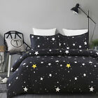 Soft Microfiber Duvet Cover Set, Printed Starry Sky Pattern, Black Queen Size