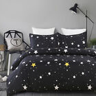 Soft Microfiber Duvet Cover Set, Printed Starry Sky Pattern, Black Queen Size image