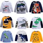 New Kids Boys Long Sleeve T Shirt Fashion Cartoon Dinosaur Top Tee Clothing