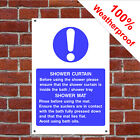 Shower curtain and mat usage hotel safety sign HOT18 durable and weatherproof