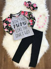 USA Kids Baby Girls Long Sleeve Tops T-shirt+Pants Leggings Outfit Clothes Sets