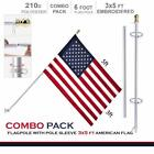 G128 - 6 Feet Tangle Free Spinning Flagpole (White/Silver) American Flag Pole Sl