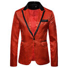 Luxury Men Sequin Fit Suit Coat Casual Slim Formal One Button Blazer Jacket Tops