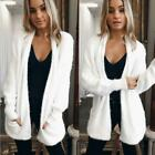 Plus Size Womens Long Sleeve Knit Fluffy Open Front Cardigan Sweater Pocket Coat