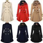Womens Warm Fur Collared Winter Long Peacoat Coat Trench Outwear Jacket Dress US