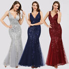 Ever-Pretty US Sequin V Neck Long Evening Party Dress Mermaid Wedding Prom Gown