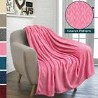 Throw Blanket for Sofa Couch Bed Decorative Lightweight Microfiber Leaf Pattern image