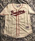 Brewers Throwback 1948 Jersey Home Ivory Red script TBTC #8, 9, 27 Braun, Uecker on Ebay