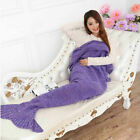 Adult Kid Mermaid Tail Knitted Hand Crochet Soft Warm Sleeping Wrap Blanket HX image