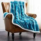 Soft Fuzzy Warm Cozy Throw Blanket with Sherpa Backing - 50 x 60 Double Side US image