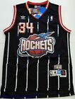 Throwback Basketball Jersey HAKEEM OLAJUWON 34 Houston Rockets Black Striped Men on eBay