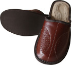 Mens Leather Slippers Slip On Shoe Size UK 6.5-11 Mules Hand Made Beach Moccasin
