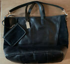 Coach F30963 Extra Large Tote Black Suede And Leather Crocodile Print image
