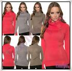 Womens Turtle Neck Jumper Ladies Pullover Casual Sweater One Size 8-14 UK