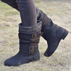 Womens Ladies Buckle Mid Calf Slouch Boots Winter Sock Biker Booties Shoes Size