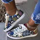 Womens Lace Up Trainers Sneakers Ladies Comfy Flat Casual Sport Gym Shoes Size