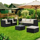 Rattan Garden Furniture 5 Piece Patio Set Sofa Table Chairs With Cushion & Table
