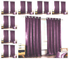Plain+Velvet+Curtains+PAIR+of+Eyelet+Ring+Top+Fully+Lined+Ready+Made+Purple