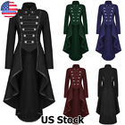 Gothic Vintage Mens Steampunk Victorian Swallow Tail Long Trench Coat Jacket USA