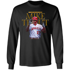 Men's Los Angeles Angels Mike trout MLB Long Sleeve Black T-shirt S-5XL on Ebay