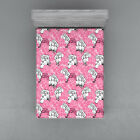 Pink and White Fitted Sheet Cover with All-Round Elastic Pocket in 4 Sizes