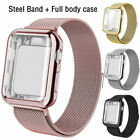 For Apple Watch Series 5 4 3 2 1 Milanese iWatch Band Strap+Full Body Case Cover image