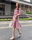 Womens fashion plaid tweed fishtail houndstooth double-breast dress KREDM32985#
