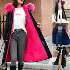 Womens Fur Collar Hooded Coat Fleece Long Parka Overcoat Oversized Jacket Duster