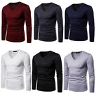 Men V-Neck Thermal Underwear Long Sleeve Shirt Warm Winter T Shirt Pullover Tops image