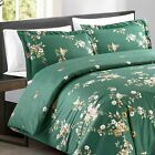 Nia Floral Pattern 100% Soft Cotton Green 3 Piece King, Queen Duvet Cover Set image