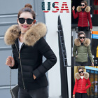 Winter Women's Down Cotton Parka Short Fur Collar Hooded Coat Quilted Jacket USA