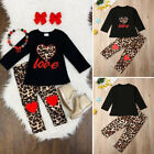 US Autumn Toddler Baby Girl Clothes Tops T-shirt Leopard Leggings Pants Outfits