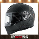 T14B Full Face Motorcycle Helmet Bluetooth Street Dual Visor Black Wings XXL DOT